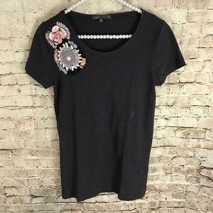 J. Crew Women's Dark Gray Beaded Shirt Size Small
